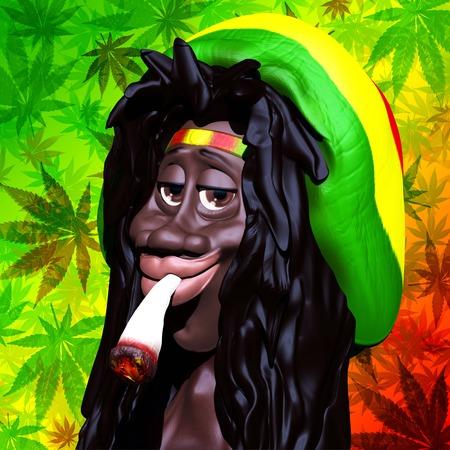 jamaican man: Rastaman Marijuana Caricature 3d Stock Photo