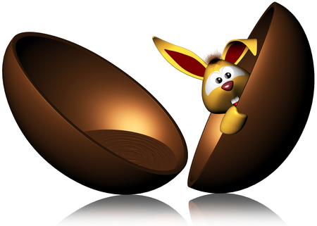 Cute Easter Bunny coming out from Chocolate Egg - 3D photo
