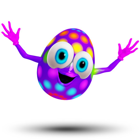 dimentional: Happy Easter Baby Egg Cartoon 3D Stock Photo