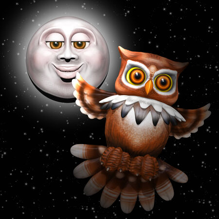 Owl and Moon Cartoon 3d photo