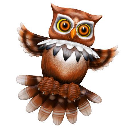 b�ho caricatura: 3d Cartoon Owl Foto de archivo