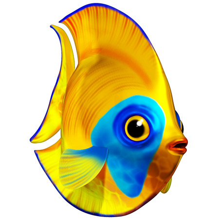 exotic fish: Tropical Fish Blue and Yellow 3D