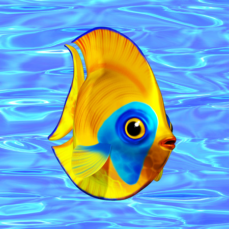 angel 3d: Tropical Fish on Sea Water Background 3D