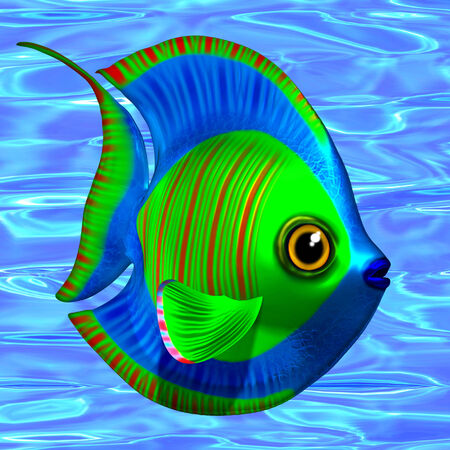 sea water: Tropical Fish on Sea Water Background 3D