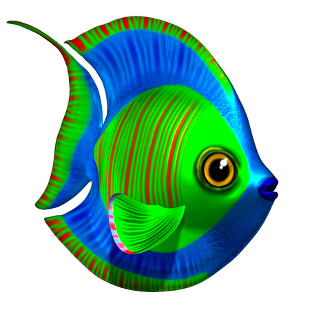 exotic fish: Tropical Fish Blue and Green 3D Stock Photo
