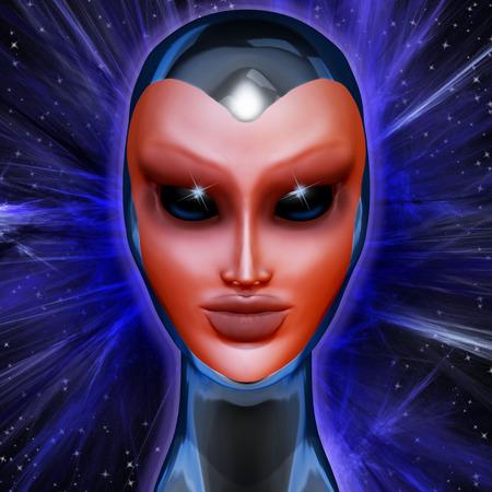 alien women: Blue Alien Mental Energy
