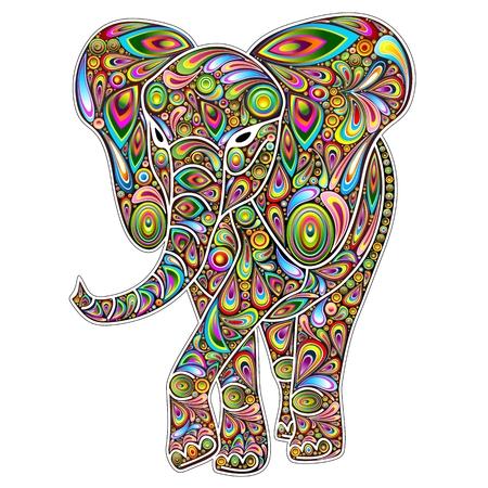 Elephant Psychedelic Pop Art Design on White