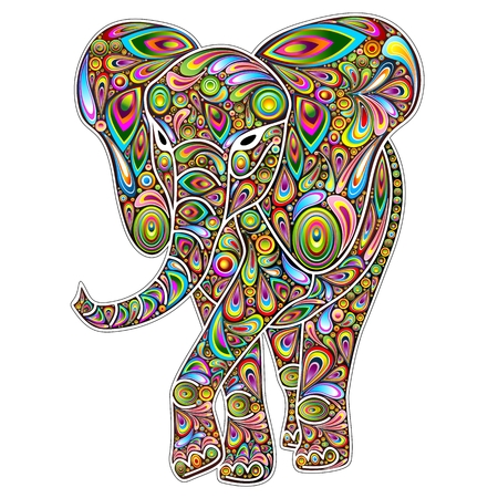 psychedelic: Elephant Psychedelic Pop Art Design on White