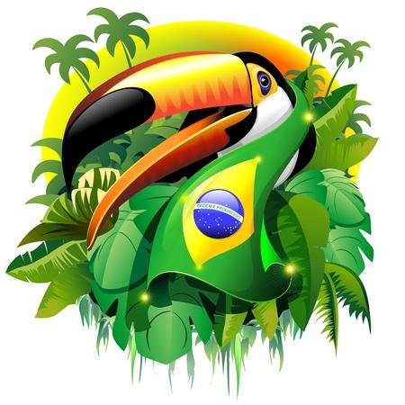브라질 국기와 토코 큰 부리 새