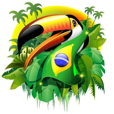 toucan: Toco Toucan with Brazil Flag Illustration