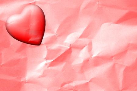 wrinkled paper: Valentine Heart Drop on Wrinkled Paper Background