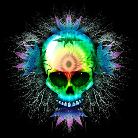 Marijuana Psychedelic Skull photo