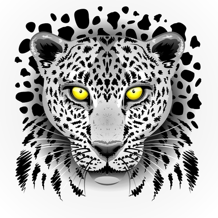 snow leopard: White Leopard with Yellow Eyes