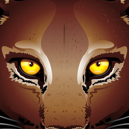 Wild Mountain Lion Puma Eyes Illustration