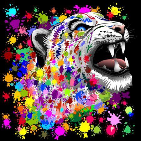 panthera pardus: Leopard Psychedelic Paint Splats