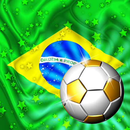 Brazil Flag Gold Green and Soccer Ball photo