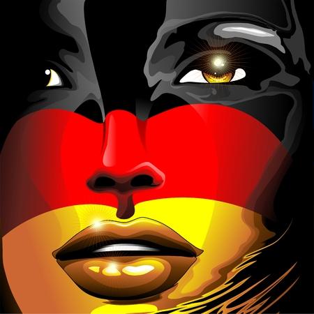 worldcup: Germany Flag Girl Portrait Illustration
