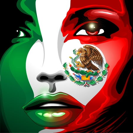 Mexico Flag Girl Portrait Illustration