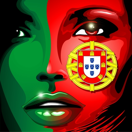 drapeau portugal: Portugal Flag Girl Portrait