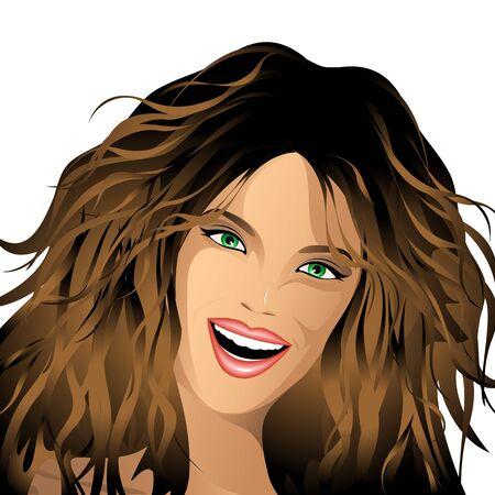 beautiful eyes: Happy Smile Girl Portrait Illustration