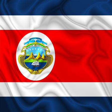 costa rica flag: Costa Rica Waving Silk Flag