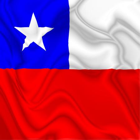 bandera de chile: Bandera de seda que agita Chile