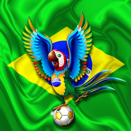 Brazil Macaw Parrot with Soccer Ball photo
