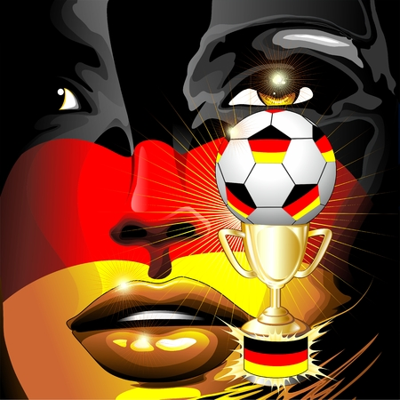 Germany Flag Football Champion Girl Portrait Vector