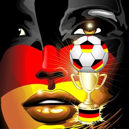 germany flag: Germany Flag Football Champion Girl Portrait