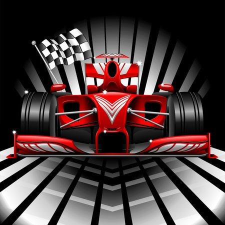 Formula 1 Red Race Car and Checkered Flag Vector