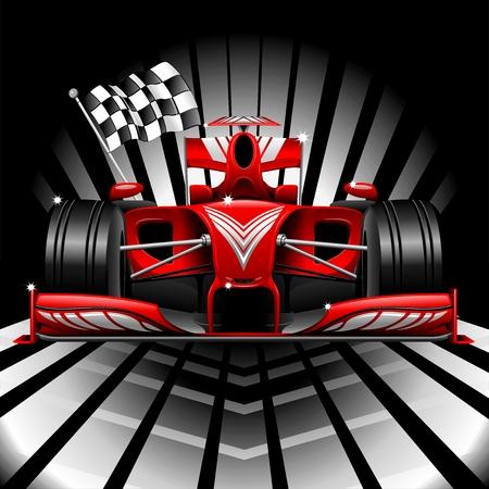 course de voiture: Formule 1 Red Race Car et Drapeau � damiers