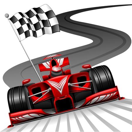 bandera carrera: F�rmula 1 Red Car en pista de carreras