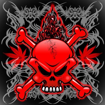 fire skull: Fire Skull Tribal Tattoos