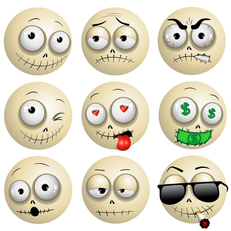 smileys: Voodoo Macumba Smileys Emotions Icons Illustration