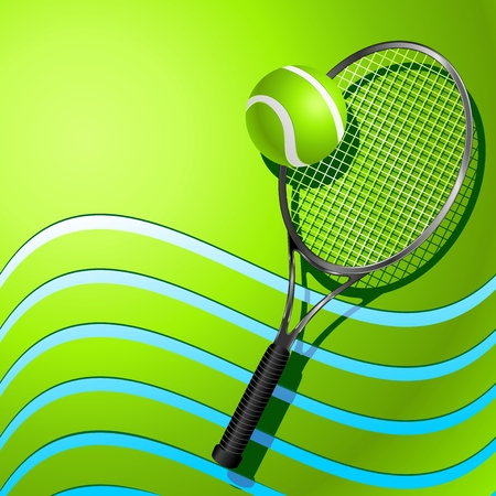 raquet: Tennis Racket and Ball on Green Background