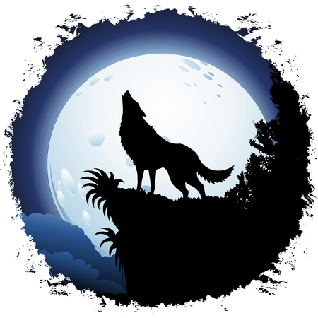 Wolf Howling at Blue Moon on Grunge Frame Vector