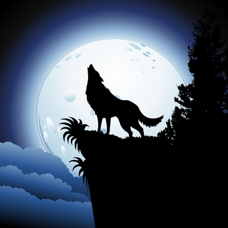 Wolf Howling at Blue Moon Vector