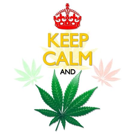 rasta colors: Keep Calm and Marijuana Leaf