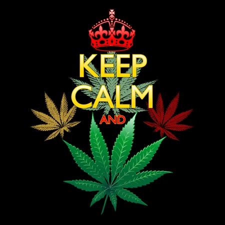 Keep Calm and Marijuana Leaf on Black Vector