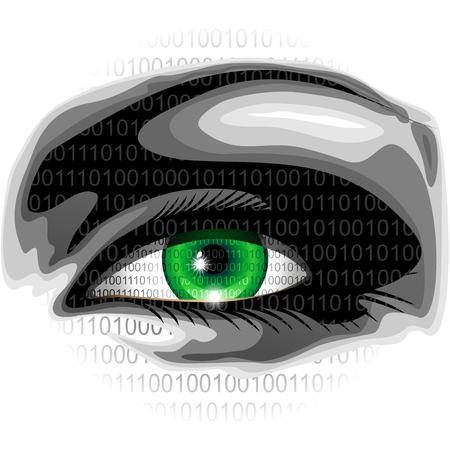 operating system: Electronic Eye with overprinted Binary Numbers Illustration