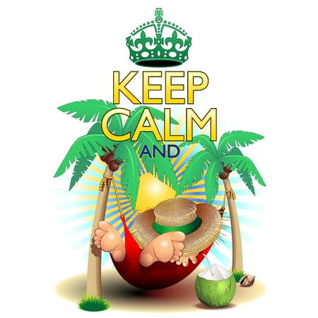 Keep Calm and   Relax on Hammock  Illustration