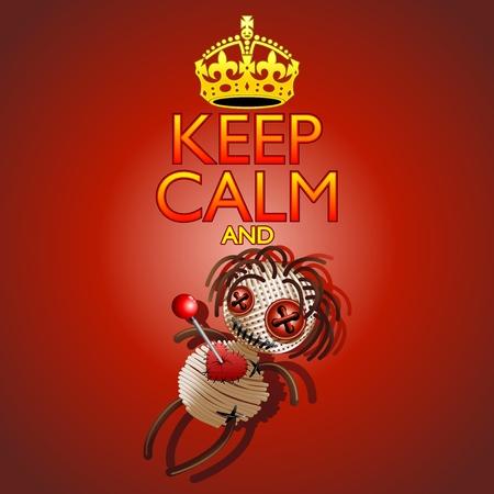 voodoo doll: Keep Calm and Voodoo Doll Illustration
