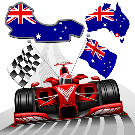 racer flag: Formula 1 Red Race Car GP Australia Illustration