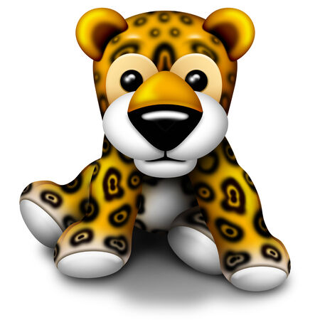 baby cartoon: Baby Jaguar Plush Toy Stock Photo