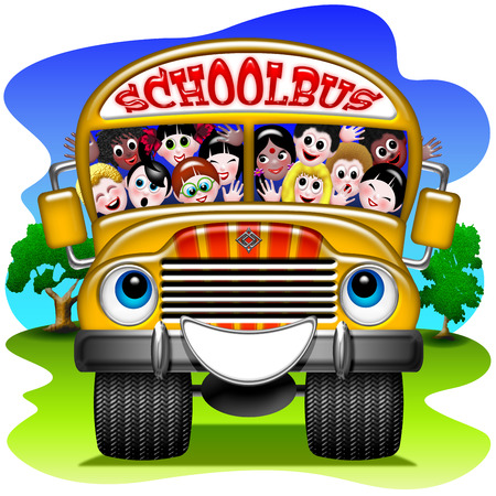 enfants heureux: Cartoon autobus scolaire
