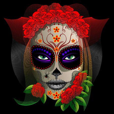 Skull Girl Dia de los Muertos Vector