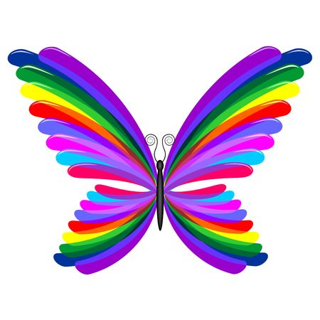 Butterfly Psychedelic Rainbow Colors Vector