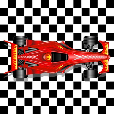 racer flag:  Red Race Car on Checkered Background