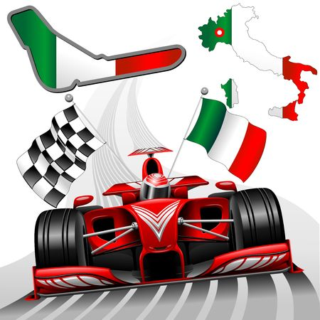 Red Race Car of Monza, Italy Vector