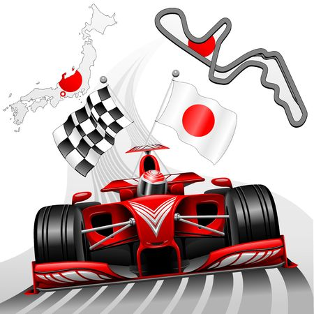 gp: Race Car GP in Japan Illustration